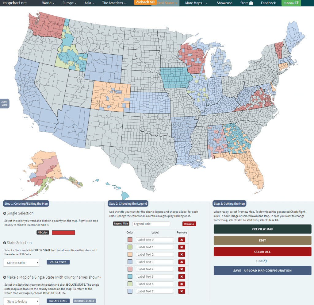 usa counties random colored map from Excel