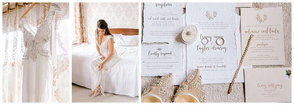 bride getting ready, wedding dress hanging, wedding details with invitation suite