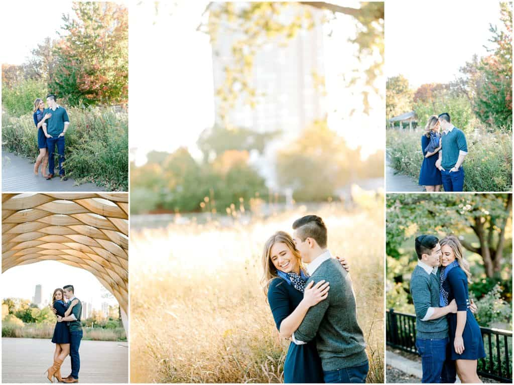 engagement session in Lincoln Park and Honeycomb, couple kissing playing together