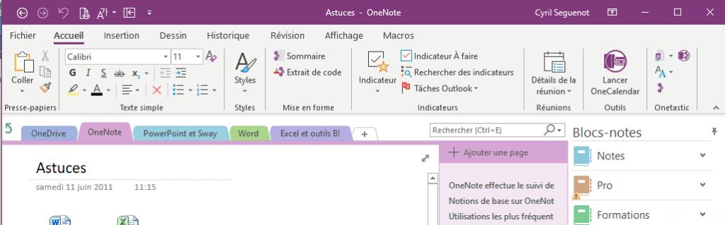 OneNote 2016 - Interface utilisateur