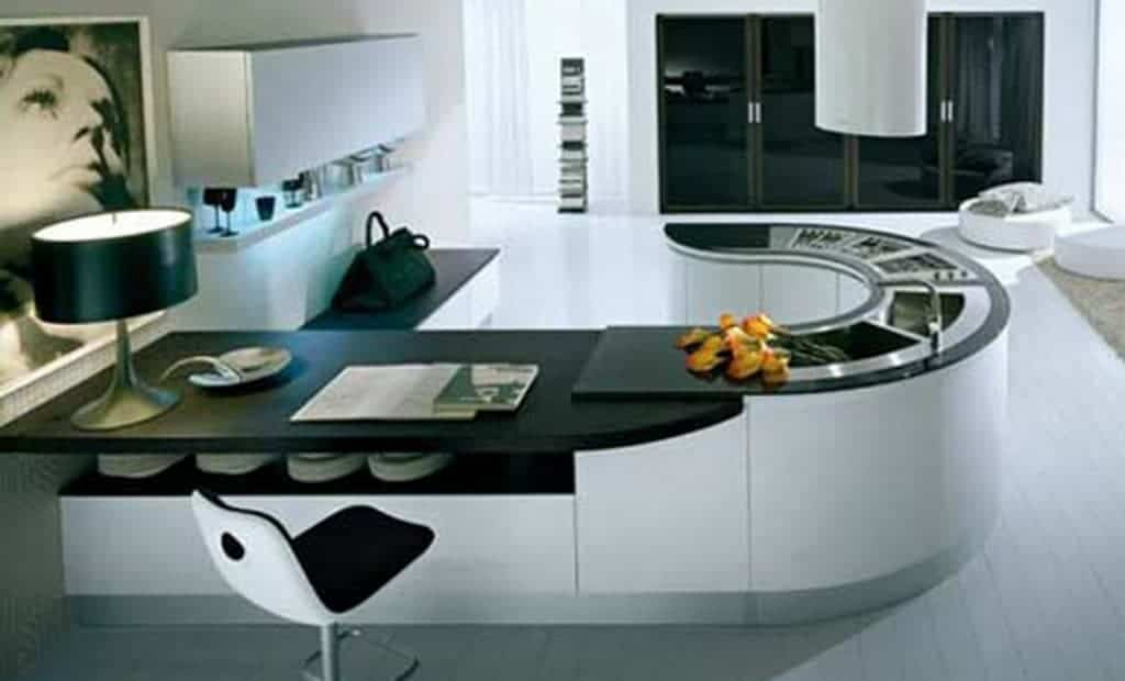 black and white Smart Kitchen with minimalist style