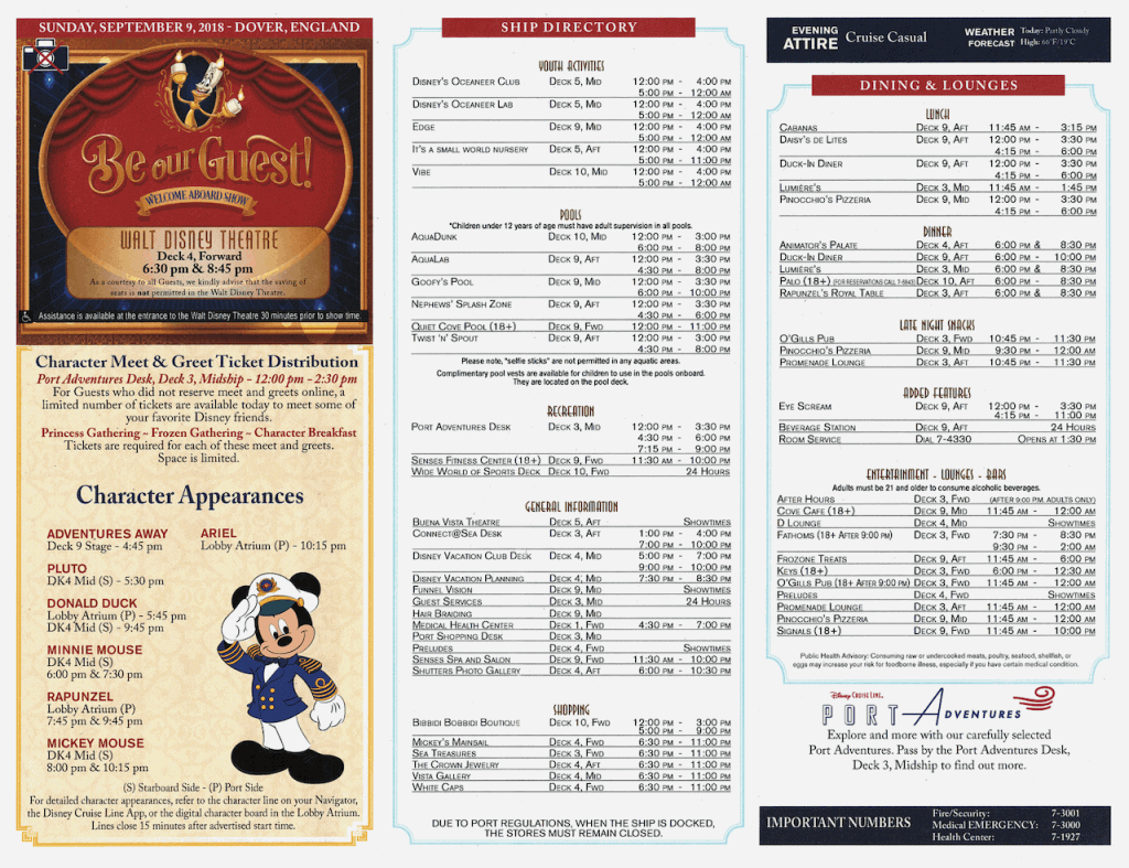 WBTA Disney Magic September 9, 2018 Navigator page two Transatlantic Cruise