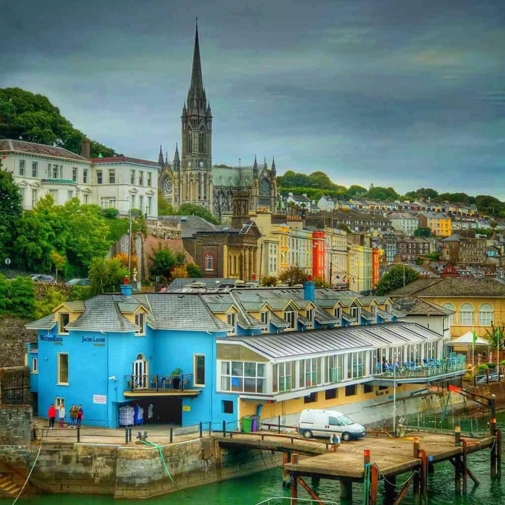 Sailing away from Cobh Ireland Disney Magic Transatlantic cruise