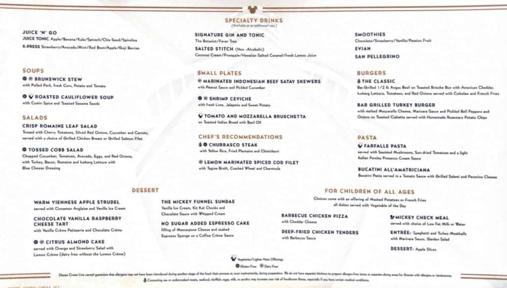 Lumiere's Lunch Menu Disney Magic Transatlantic Cruise sea days