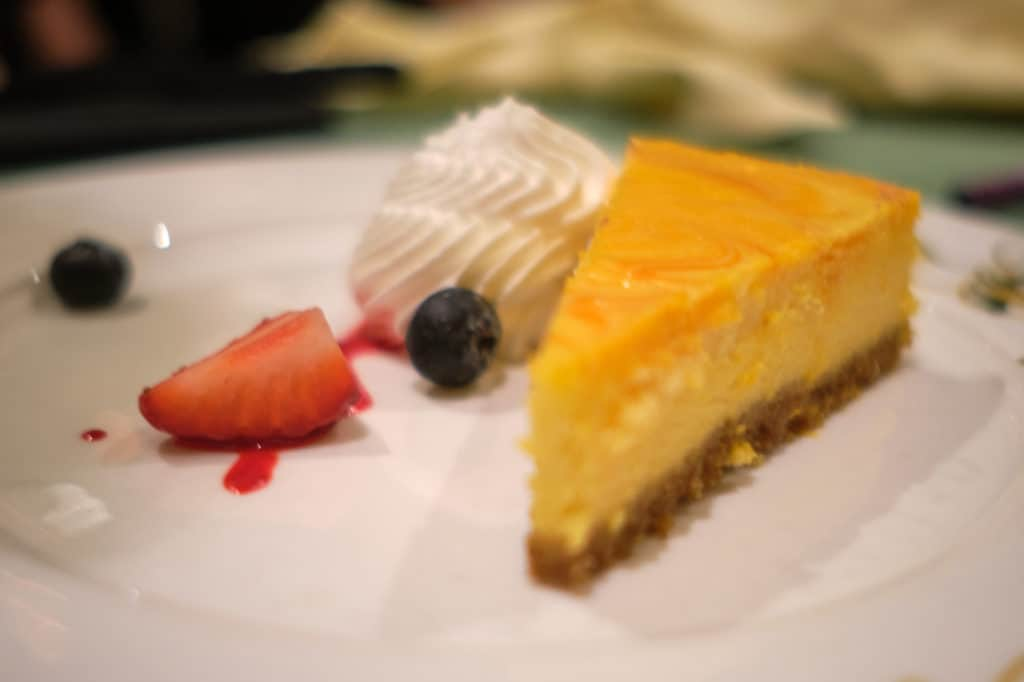 Mango Marble Cheesecake at Tiana's Place the Disney Wonder