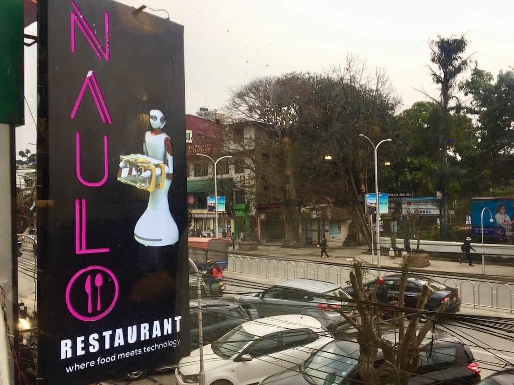 Roboter-Restaurant Kathmandu: Schild außen