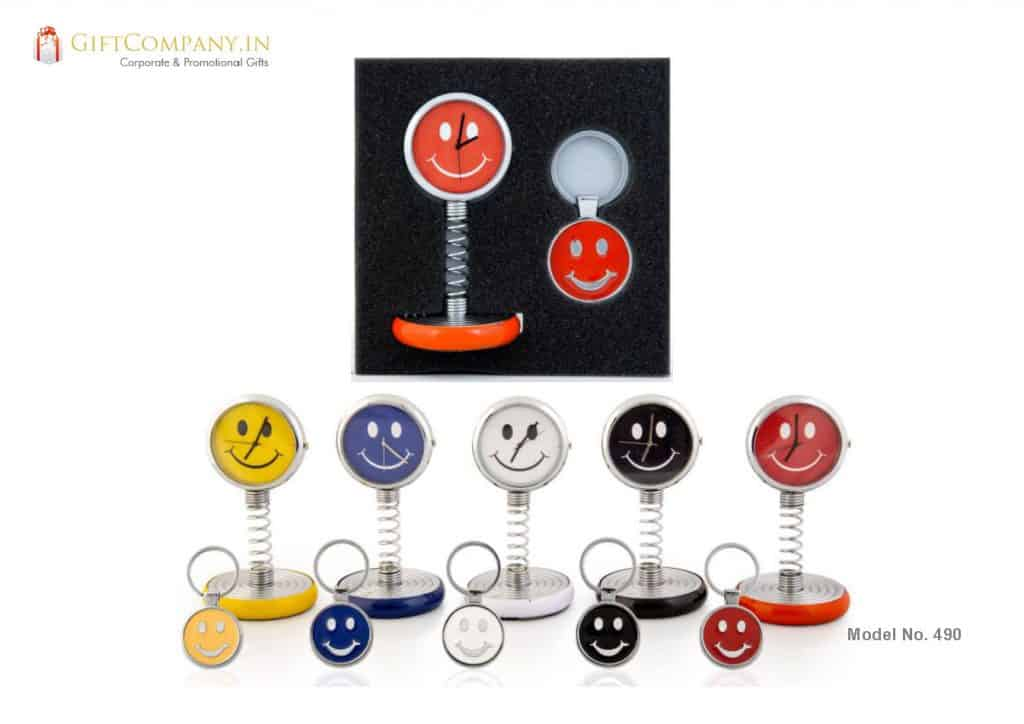 Spring Smiley Desk and Car Clock with Key Chain