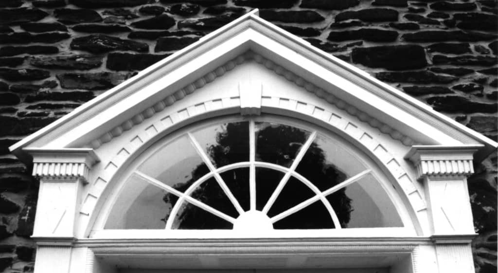 Pediment over a door to the Locktown Stone Church