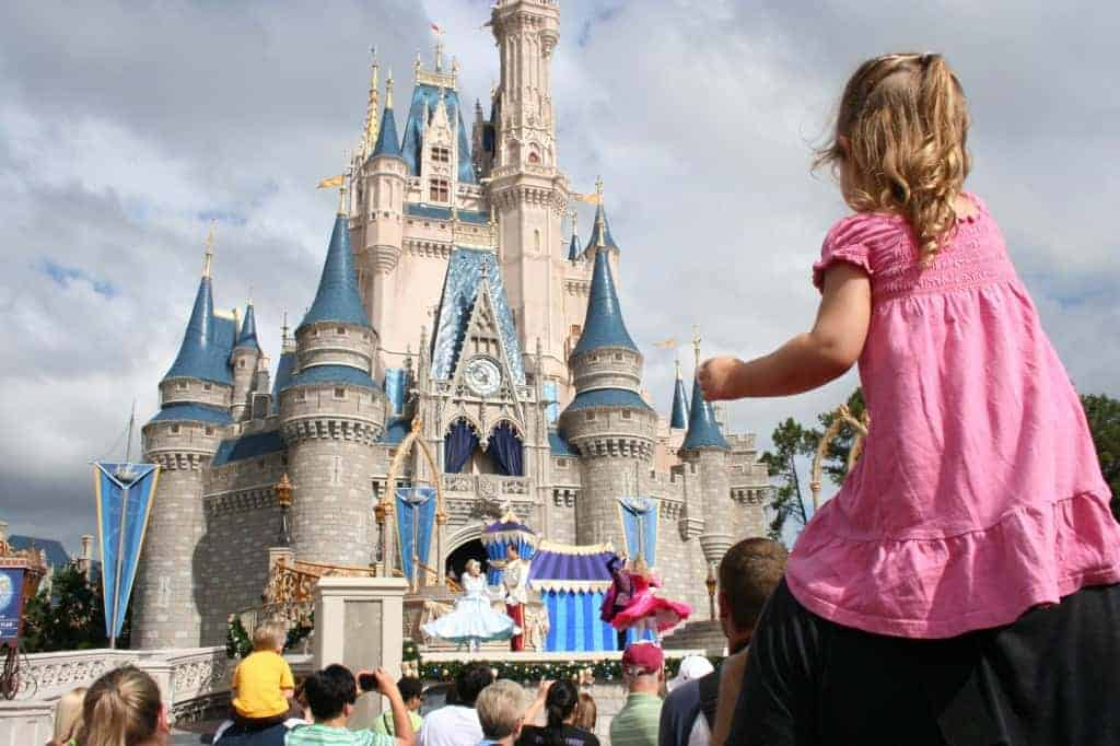 walt disney world with a toddler, walt disney world, cinderella's castle, princesses dance
