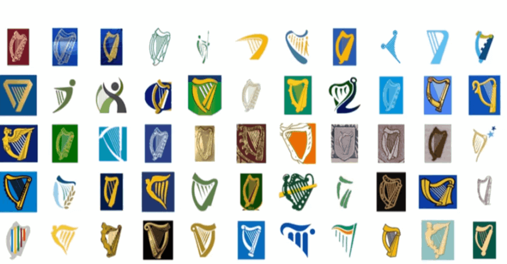 Complete list of every Irish orginisation displaying the Irish harp.