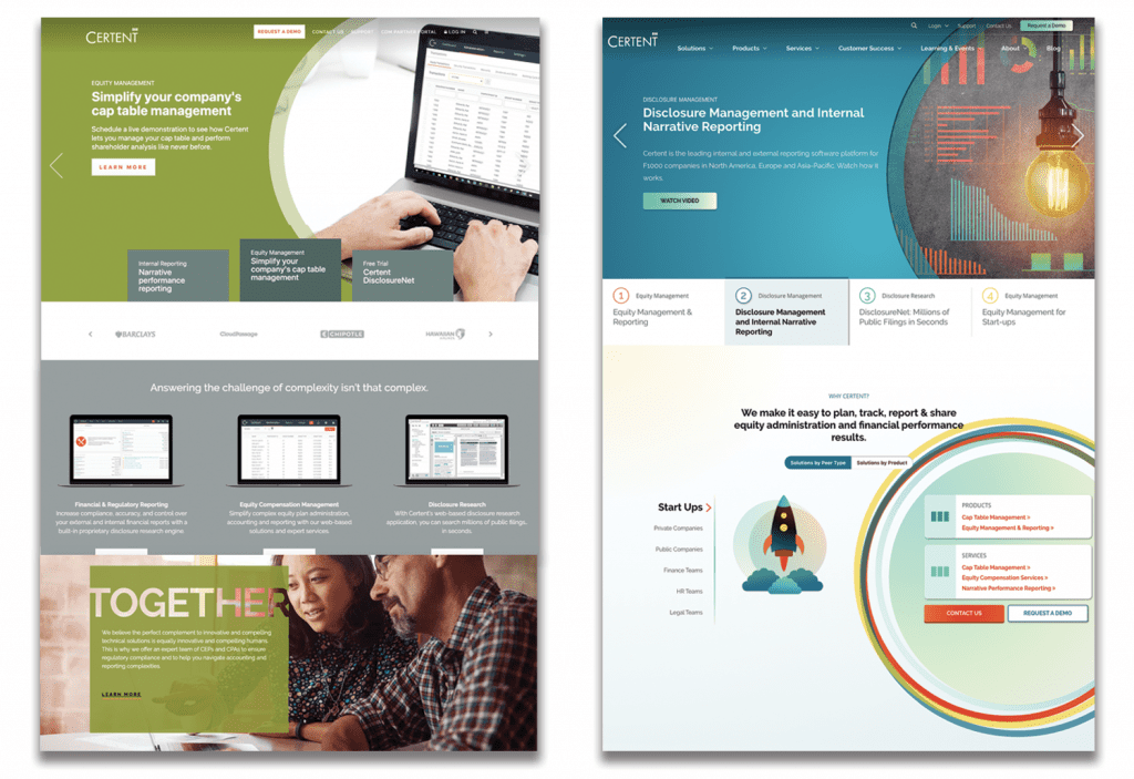 The Certent home page: before (left) and after (right).