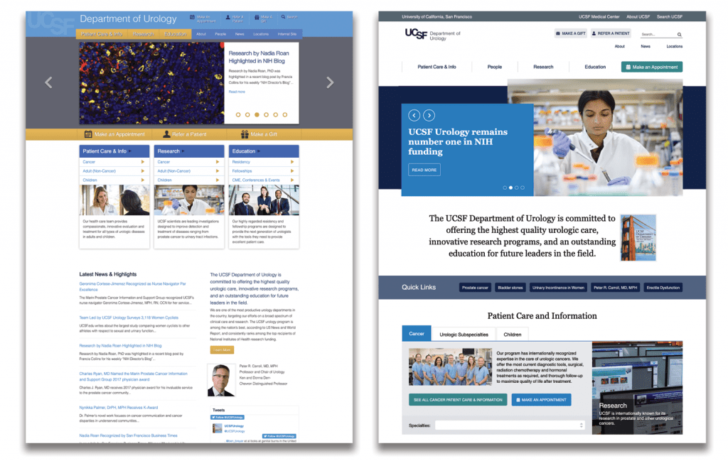 The UCSF Urology home page: before (left) and after (right).