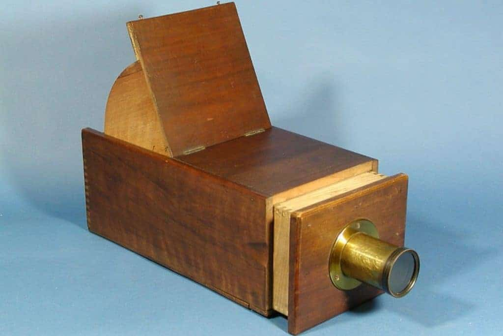 A wooden box version of a Camera Obscura.