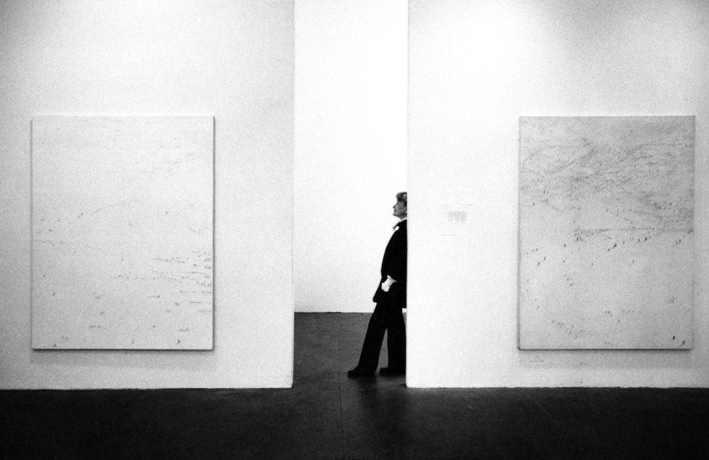 Hedda Sterne at her Queens Museum retrospective (1985)