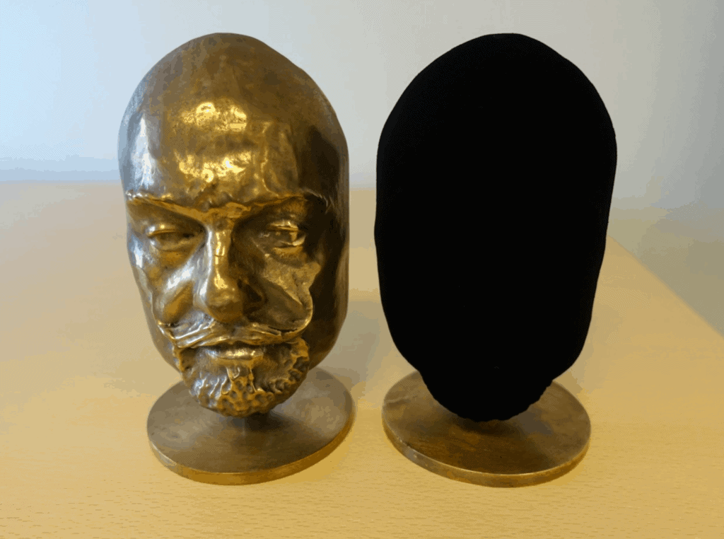 Two identical busts. One coated in Vantablack. Blackest black