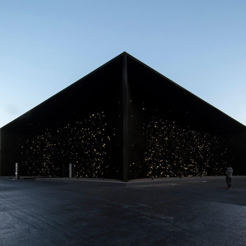 Asif Khan's pavilion for the Pyeongchang Winter Olympic Games in South Korea 2018. Blackest Black