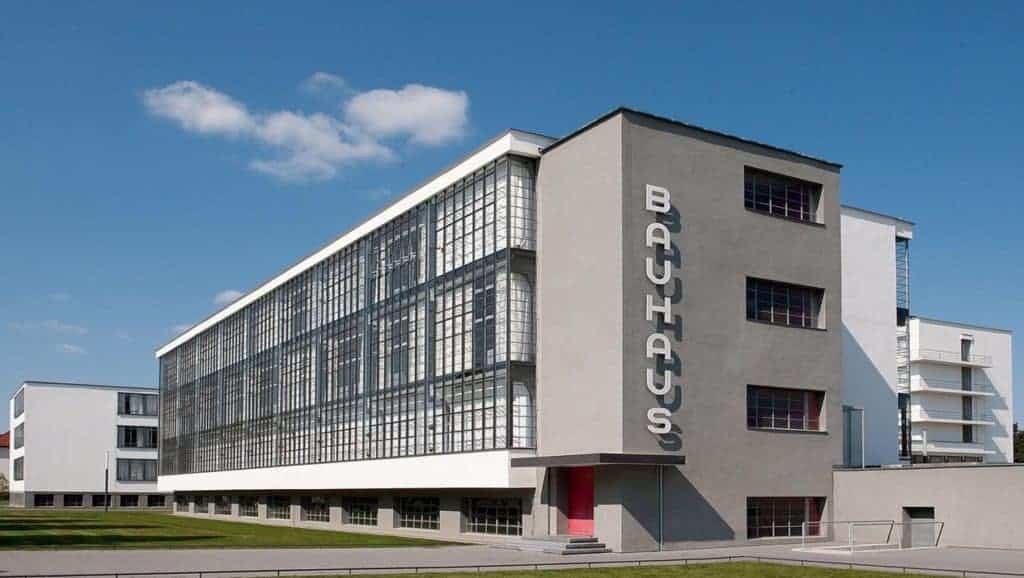 Outside of the Bauhaus Dessau school designed by Walter Gropius.