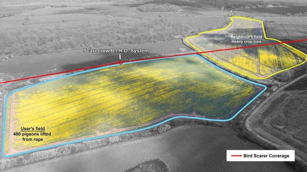 Scarecrow paukščių baidymo sistema su skambučiais siekia iki 300 metrų
