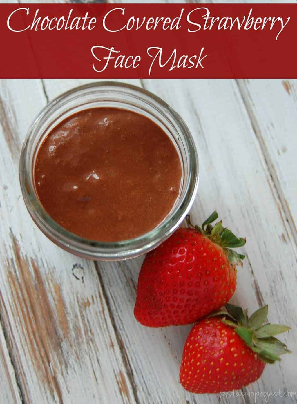 Chocolate Covered Strawberry Face Mask - Not only is this face mask wonderful for your skin, it's also pretty tasty if some of it happens to make it's way into your mouth. #facemask #fruit #chocolatecoveredstrawberry #straweberry #natural