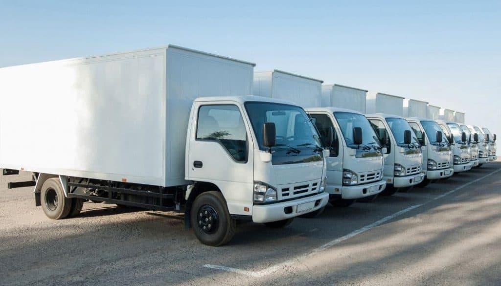 parked straight trucks