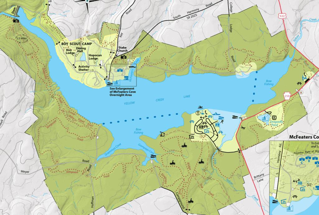 yellow creek state park hiking map