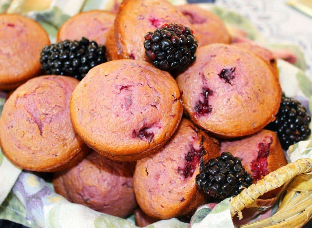 Blackberry Muffins. Fresh blackberries added to muffin batter create a delightful purple muffin. #blackberry #muffin #breakfast #southernfood