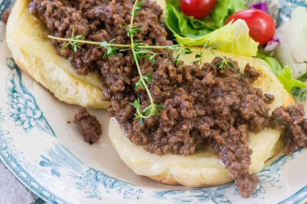 French onion burger on a plate