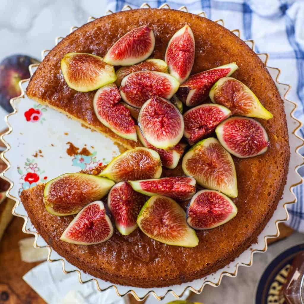fresh figs on fig honey cake