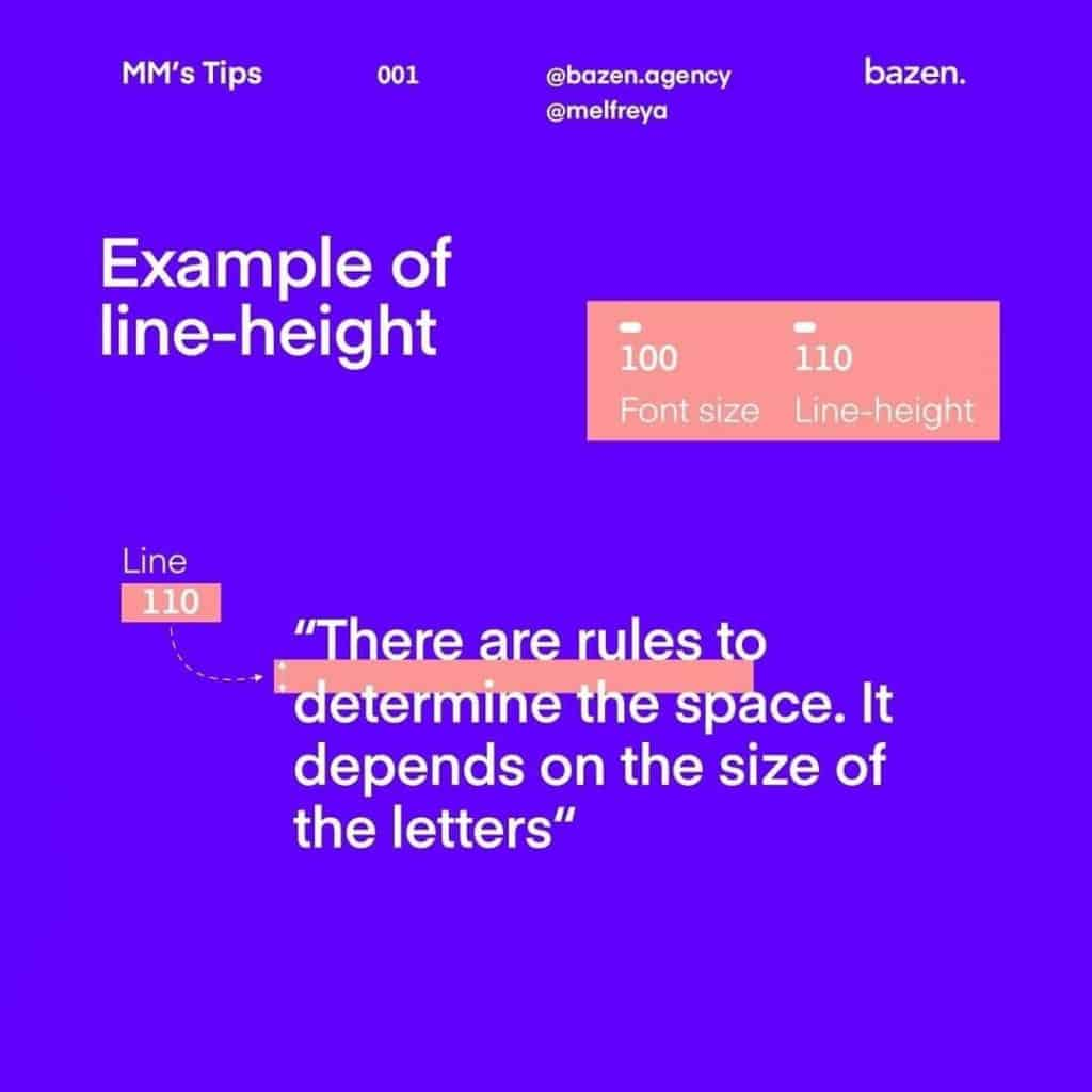 Example of Line-height  There are rules to determine the space. lt depends on the size of the letters""