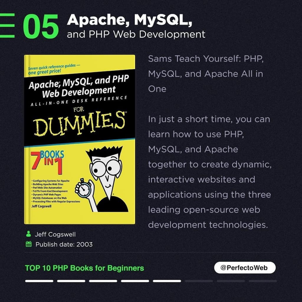 Apache, MySQL, and PHP Web Development  Sams Teach Yourself: PHP, MySQL, and Apache All in One  In just a short time, you can learn how to use PHP, MySQL, and Apache together to create dynamic, interactive websites and applications using the three leading open-source web development technologies.