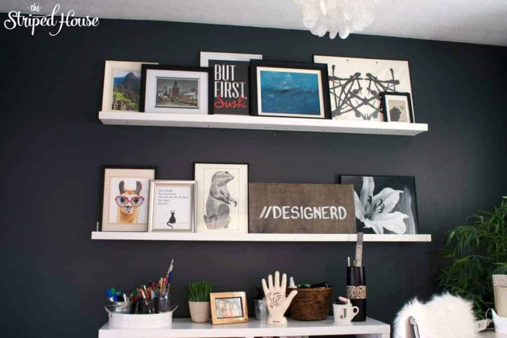 DIY floating gallery shelves, the striped house, black & white office