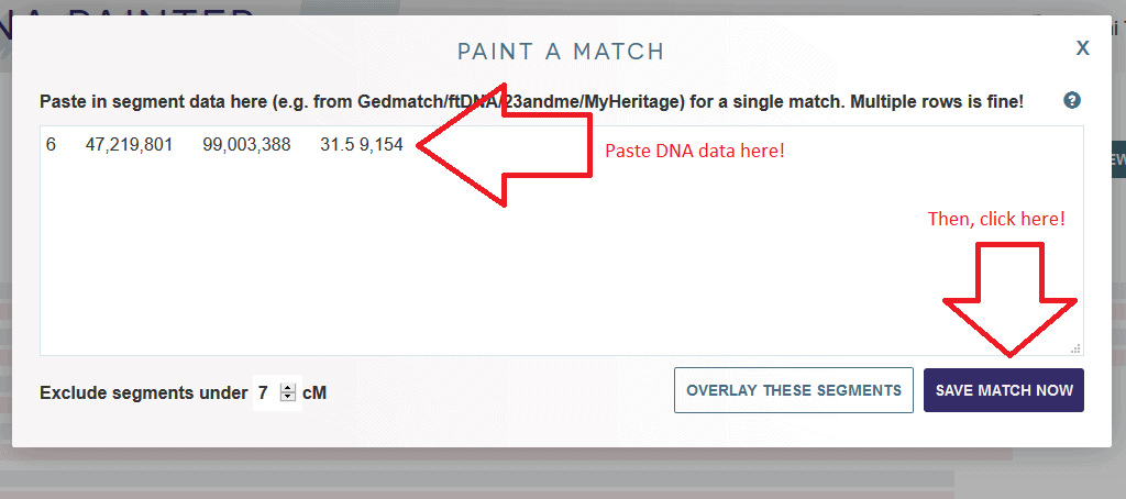 Where to paste DNA data to paint new match