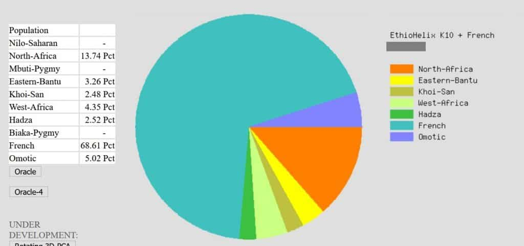 Example of EthioHelix results on Gedmatch - this person has approximately 11% DNA matching African regions on other sites and shows about 18% with this admixture calculator