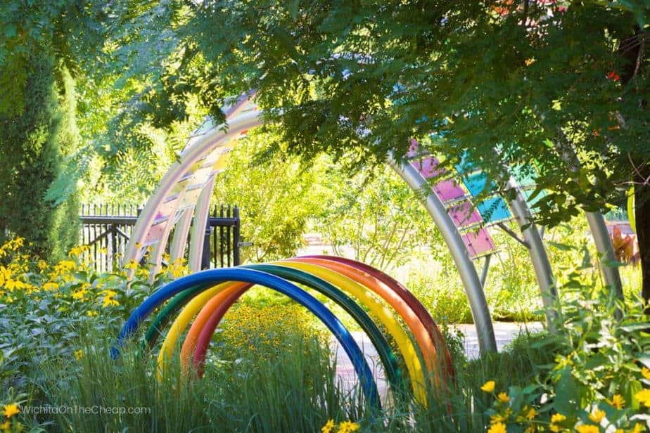 Colorful rings in the children's garden at Botanica