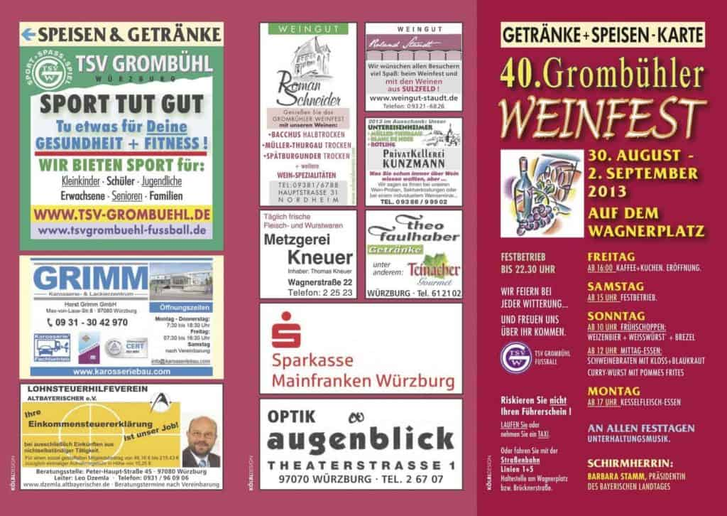 Flyer Weinfest in Grombühl
