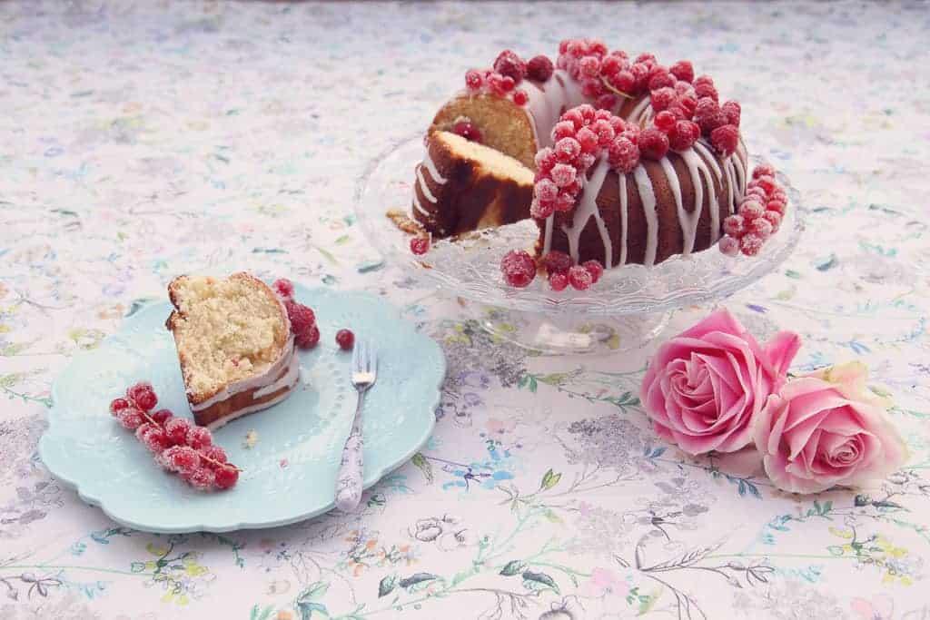 Tea party with lemon drizzle bundt cake