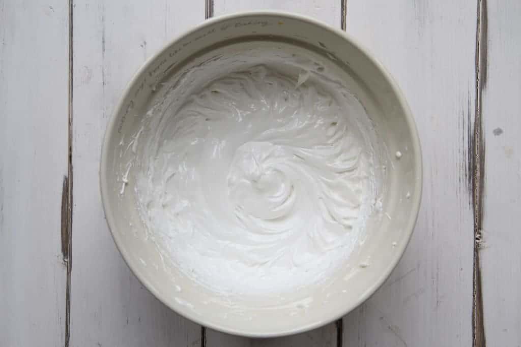 Egg whites whisked for meringue