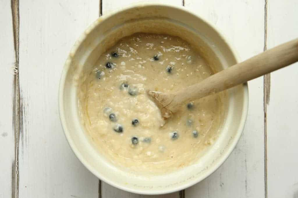 Blueberry and banana bread mixture
