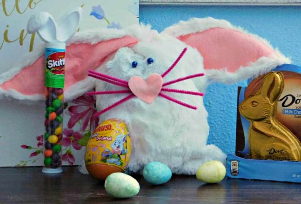 close up of easter bunny bag surrounded by easter candy