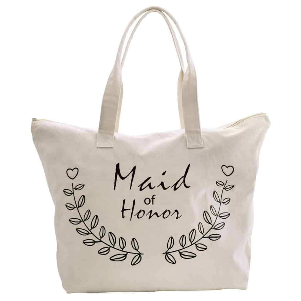 maid of honor canvas tote with quote on front