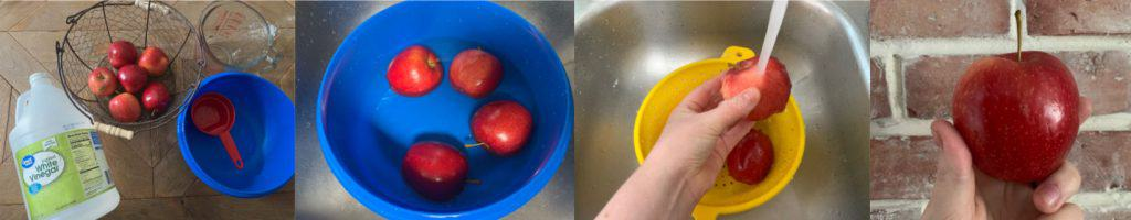 how to wash an apple collage
