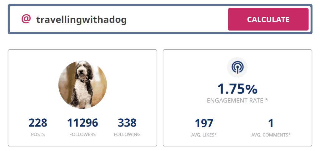 Screenshot of instagram engagement rate