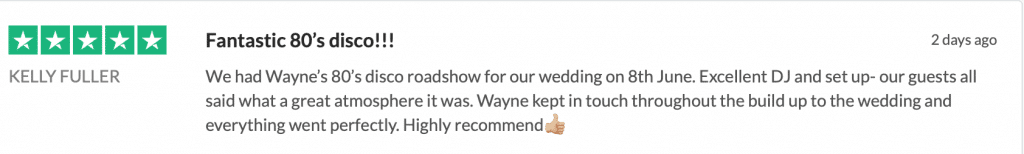 5* Trustpilot from Kelly about her wedding reception entertainment