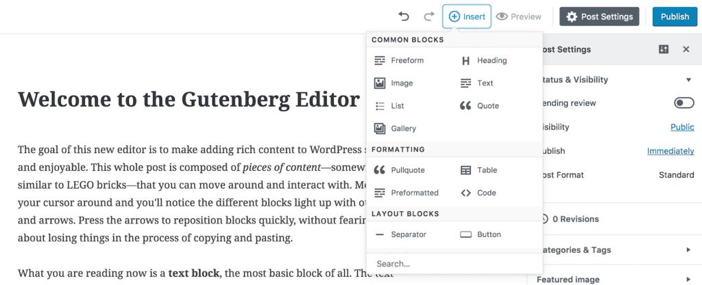 The new WordPress Gutenberg Editor