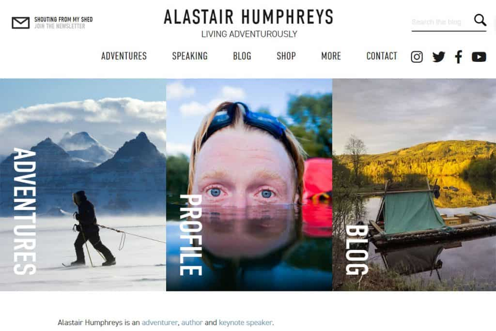 Alastair Humphrey's blog is full of incredible accounts of some amazing adventures including biking around the world (literally, circumnavigating the globe), rowing a boat across the Atlantic ocean, walking a thousand miles into the desert, and many more.