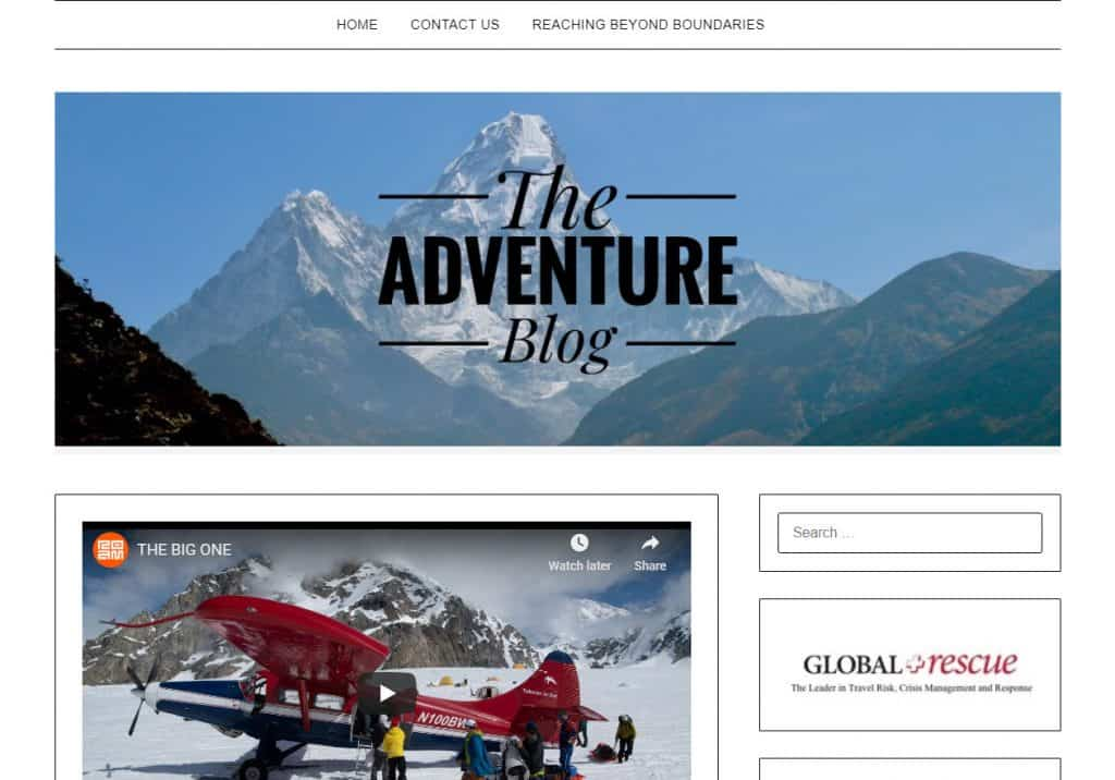 The Adventure Blog (not to be confused with Adventure Journal!) features everything from news to extreme videos. This blog is very active. A minimalist design with little navigation but multiple posts per day so keep up!