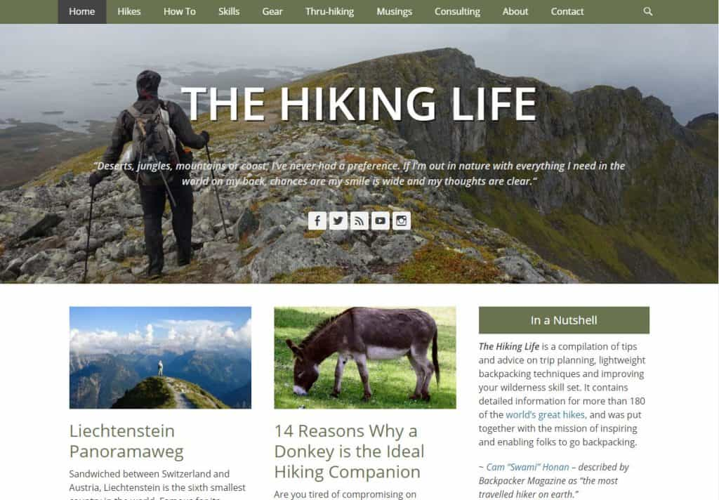 The Hiking Life is a compilation of tips and advice on trip planning, lightweight backpacking techniques and improving your wilderness skill set.
