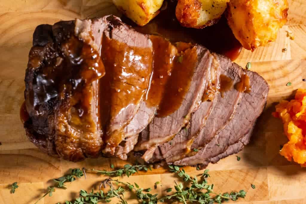 Slow Cooker Beef, Roast Potatoes and Thyme