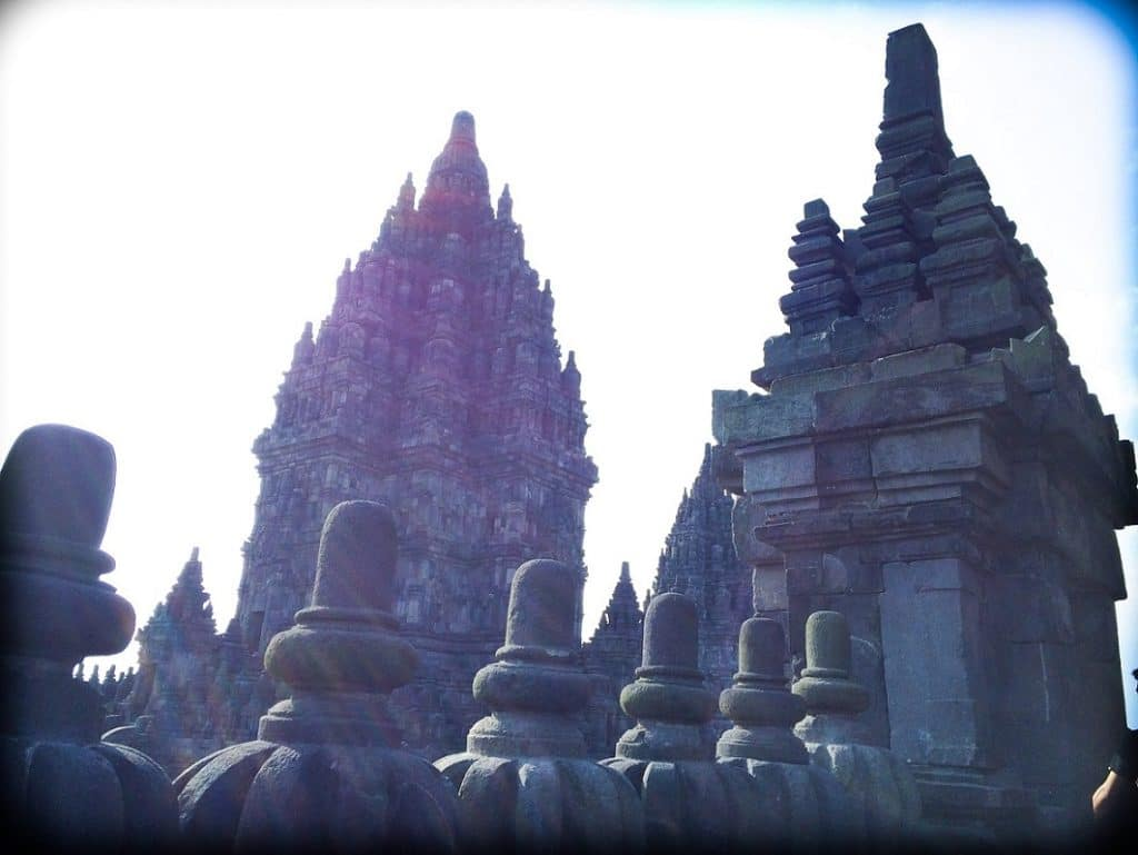The Prambanan temple complex, a part of Indonesian culture and history.