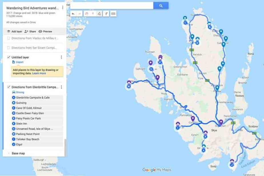 Driving route map for Isle of Skye- Day One and Day Two road trip itinerary